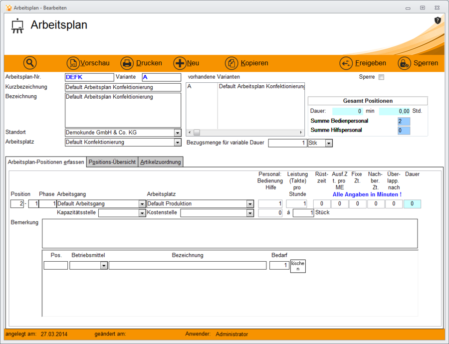 Arbeitsplan sperre/freigabe – Metacarp GmbH Onlinehilfe