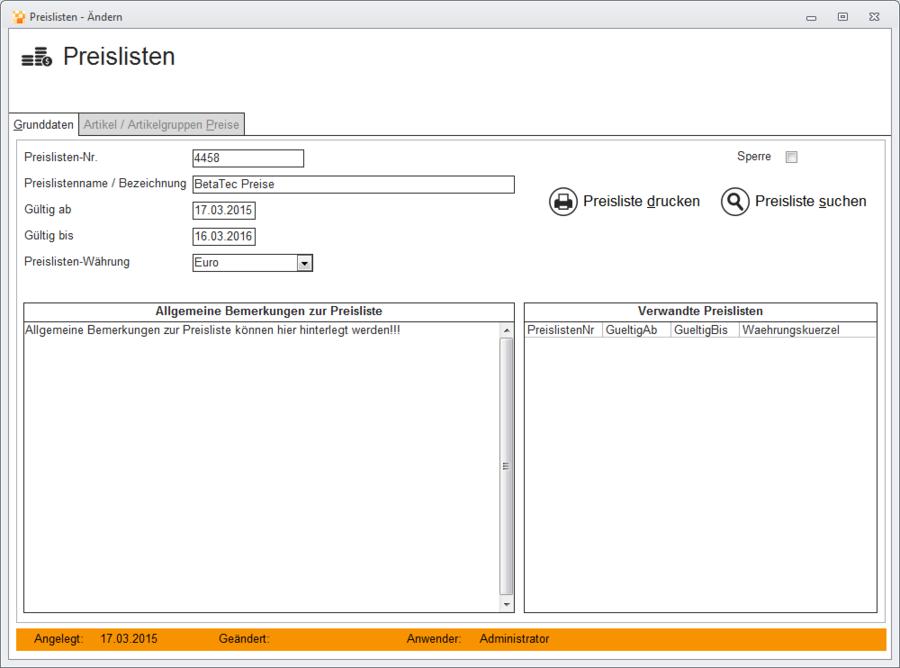 Preislisten bearbeiten - Metacarp GmbH Onlinehilfe